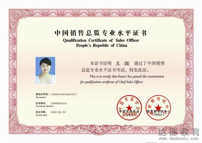 中国销售总监专业水平证书